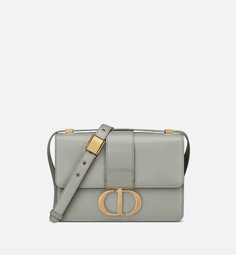 Gray Stone 30 Montaigne Box Calfskin Flap Bag front view
