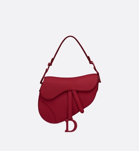 Cherry Red Saddle Matte Smooth Calfskin Bag aria_frontView
