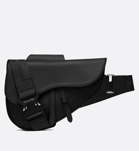 Saddle bag in black calfskin Black front view