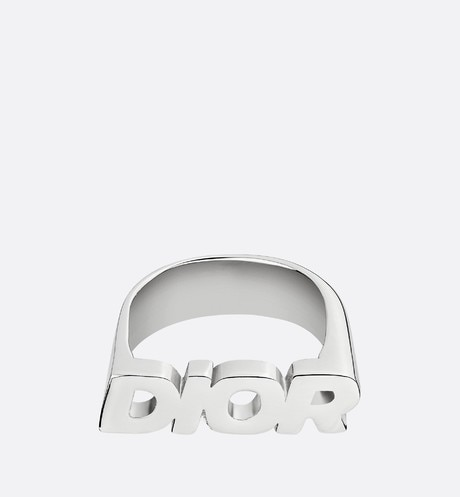 DIOR Sterling Silver Logo Ring front view