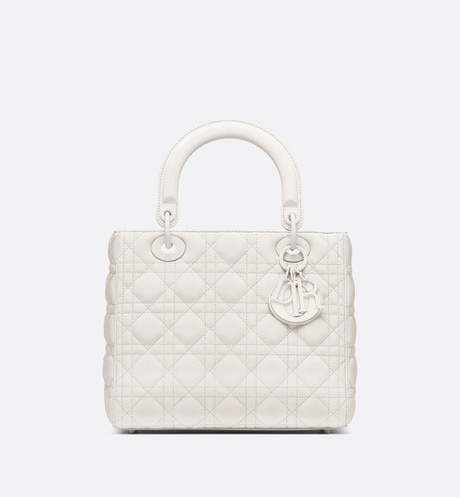 Lady Dior ultra-matte medium bag Beige front view