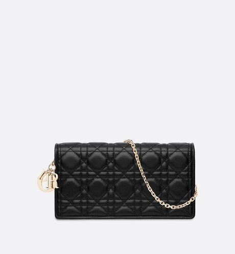 Lady Dior lambskin clutch Black front view