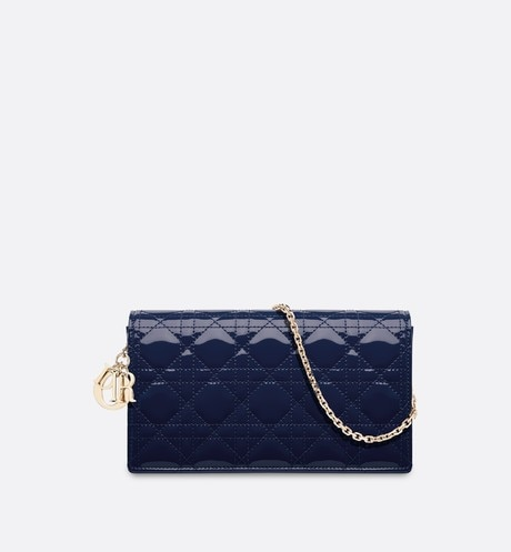 Lady Dior clutch in blue calfskin Blue aria_frontView