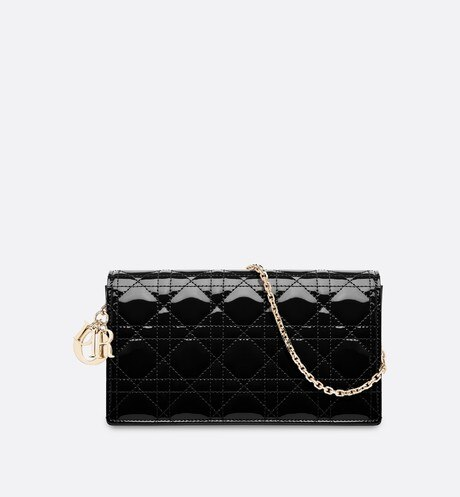 Lady Dior calfskin clutch Black aria_frontView