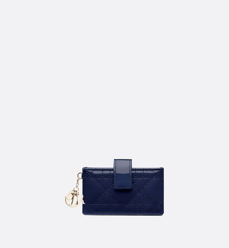 Click here to enlarge the product picture Lady Dior card holder in blue calfskin