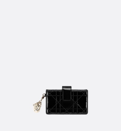 Lady Dior calfskin card holder aria_frontView