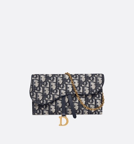 Dior Oblique Saddle wallet front view