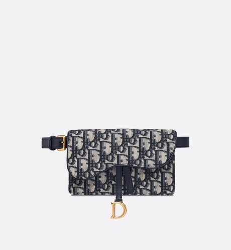 Dior Oblique Saddle belt bag Blue front view