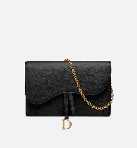 Saddle calfskin clutch Black front view
