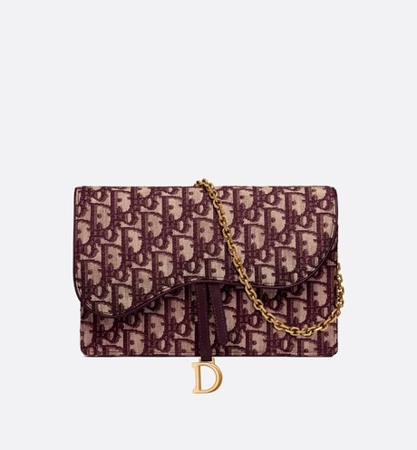 Dior Oblique Saddle clutch Burgundy aria_frontView