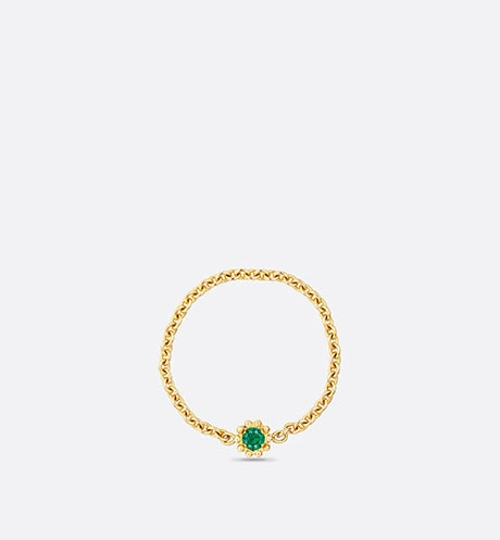 Mimirose ring, 18K yellow gold and emerald front view