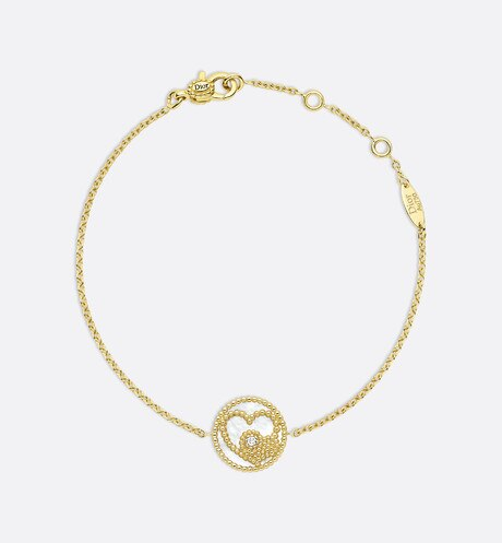 Click here to enlarge the product picture Rose des Vents bracelet with Heart motif, 18K yellow gold, diamond and mother-of-pearl
