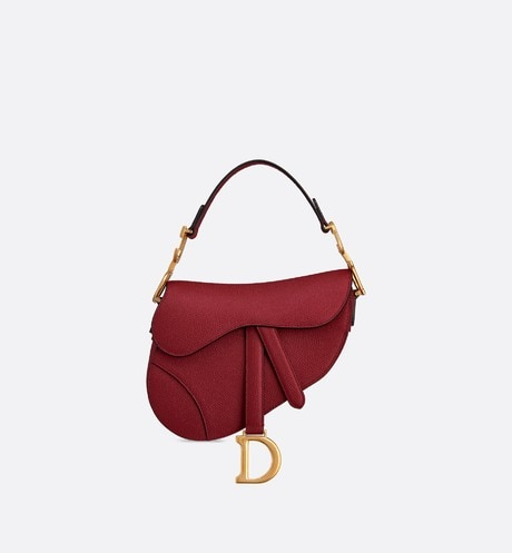 Click here to enlarge the product picture Cherry Red Saddle Mini Stamped Grain Calfskin Bag