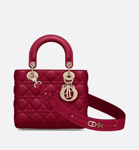 Click here to enlarge the product picture Cherry Red Lady Dior Small Lambskin Bag