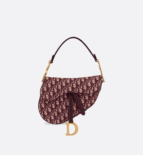 Dior Oblique Saddle bag Burgundy front view