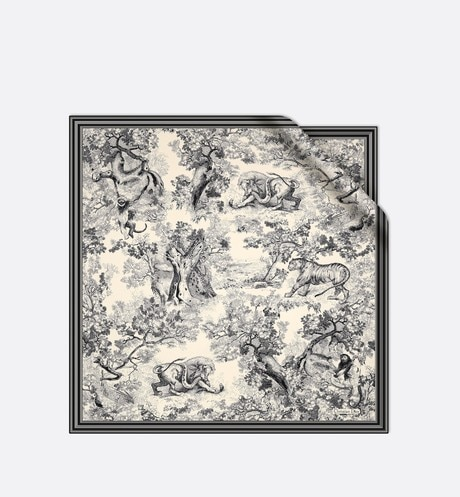 Toile de Jouy square scarf in silk twill aria_frontView