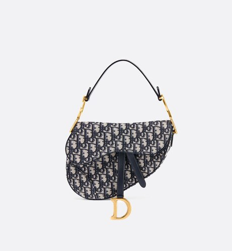 Borsa Saddle Dior Oblique Blu aria_frontView