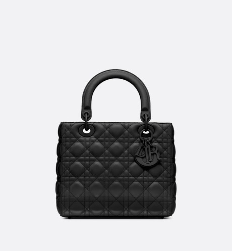 Lady Dior ultra-matte bag Black front view