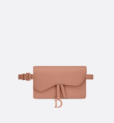 Blush Saddle Matte Calfskin Mini Belt Pouch aria_frontView