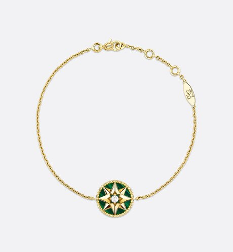 Click here to enlarge the product picture Rose des vents bracelet, 18k yellow gold, diamond and malachite