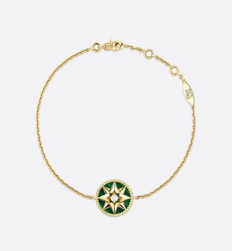 Rose des vents bracelet, 18k yellow gold, diamond and malachite front view
