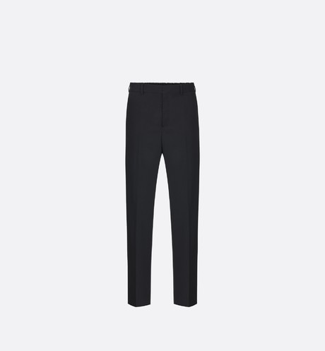 Black Virgin Wool Twill Pants with Elasticated Waist front view