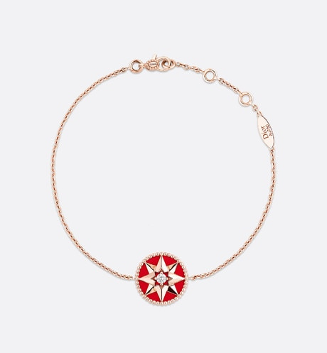 Click here to enlarge the product picture Rose des vents bracelet, 18k pink gold, diamond and red lacquered ceramic