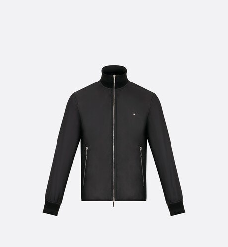 Jacket, High collar, Black nylon front view