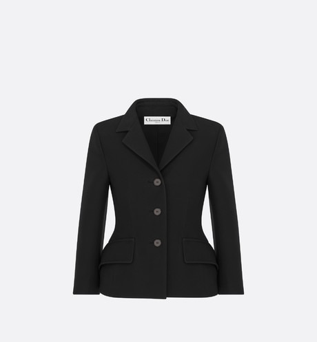 Black Lightweight Wool and Silk Bar Jacket with Three-Quarter Sleeves aria_frontView
