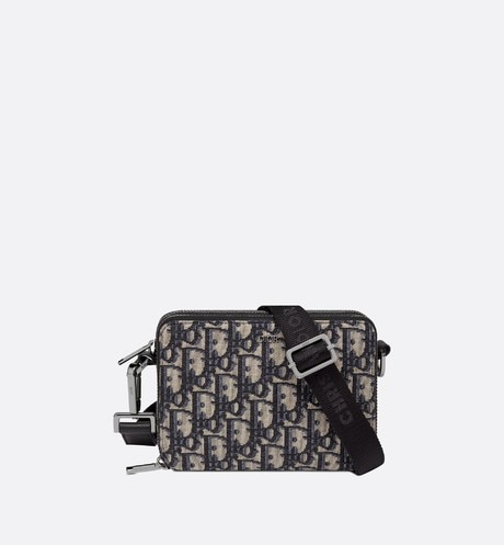 Beige and Black Dior Oblique Jacquard Pouch front view