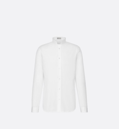 White Inverted Collar Cotton Poplin Dress Shirt aria_frontView