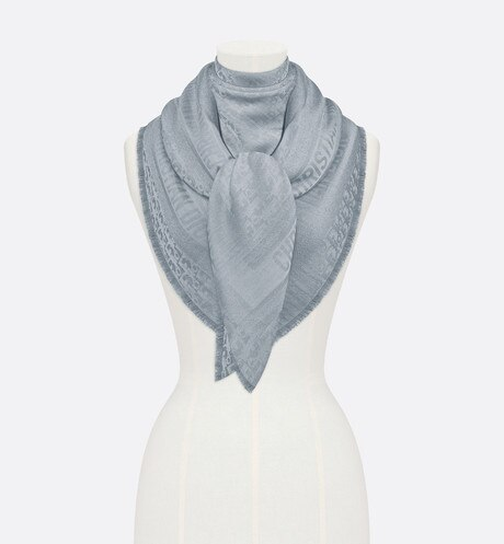 Click here to enlarge the product picture Blue New Dior Oblique Wool-Blend Jacquard Shawl