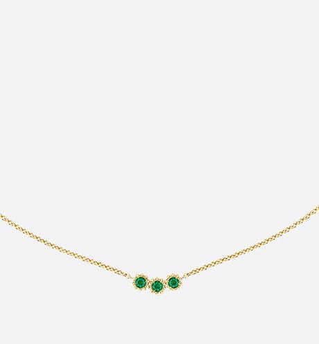 Mimirose necklace, 18K yellow gold and emeralds aria_frontView