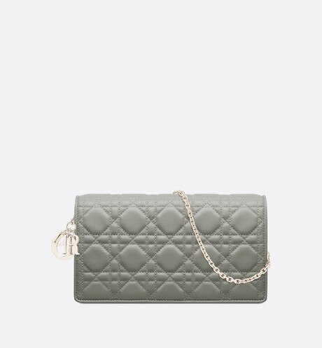 Click here to enlarge the product picture Gray Stone Lady Dior Lambskin Chain Pouch