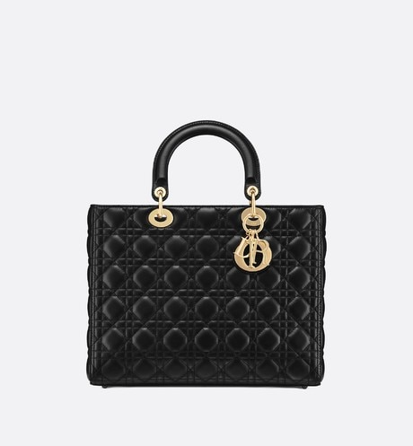 Lady Dior lambskin tote bag Black front view