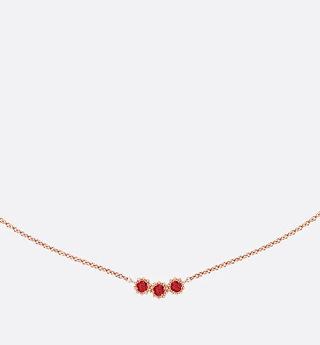 Mimirose necklace, 18K pink gold and rubies aria_frontView