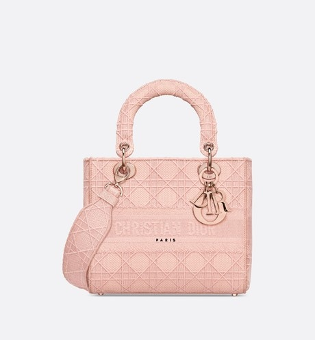 Medium Bois De Rose Lady D-Lite Embroidered Cannage Bag aria_frontView