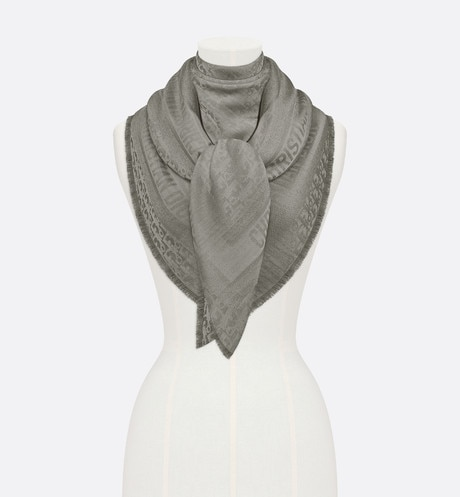 Click here to enlarge the product picture Gray New Dior Oblique Wool-Blend Jacquard Shawl