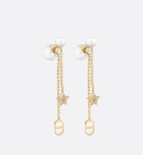 White Resin Pearl and Crystal Dior Tribales Gold-Finish Earrings aria_frontView