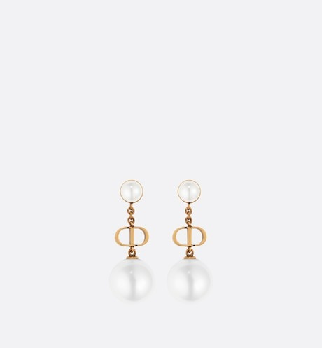 White Resin Pearl Dior Tribales 'CD' Antique Gold-Finish Pendant Earrings aria_frontView