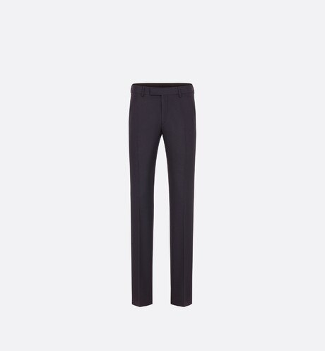 Navy Blue Pleated Wool and Mohair Canvas Pants aria_frontView