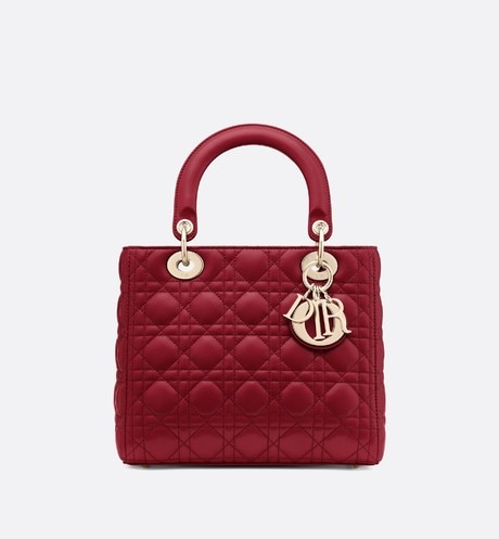 Click here to enlarge the product picture Cherry Red Lady Dior Medium Lambskin Bag