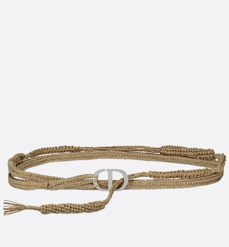 Beige Woven Jute Canvas Diornatural Belt, Adjustable aria_frontView