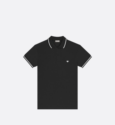 Black Cotton Piqué Polo Shirt with Bee Emblem aria_frontView