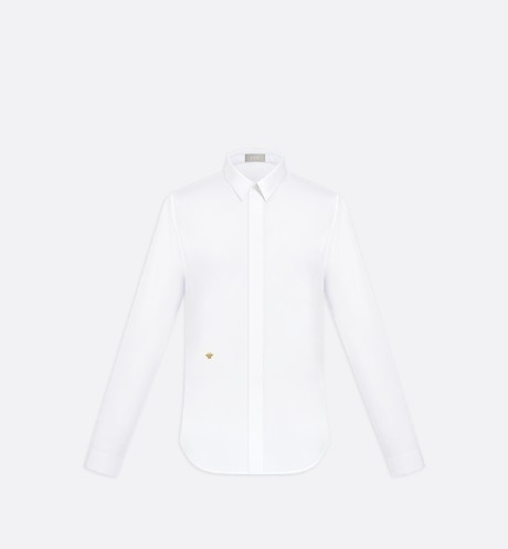 White  Cotton Poplin Dress Shirt with Bee Emblem front view
