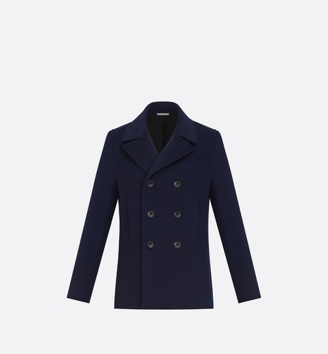 Navy Double-Breasted Cashmere Peacoat front view