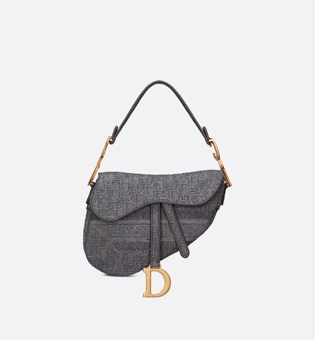 'Saddle' Tasche aus Denimstoff in Grau mit Dior Oblique-Stickerei aria_frontView