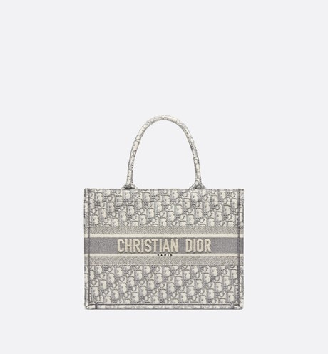 Small Gray Dior Book Tote with Dior Oblique Embroidery aria_frontView