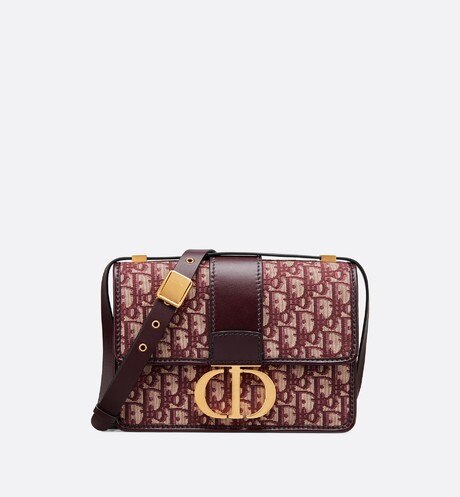 30 Montaigne Dior Oblique bag Burgundy Oblique front view