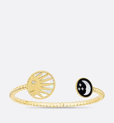 Click here to enlarge the product picture Rose Céleste bangle, 18K yellow gold and white gold, diamond, mother-of-pearl and onyx